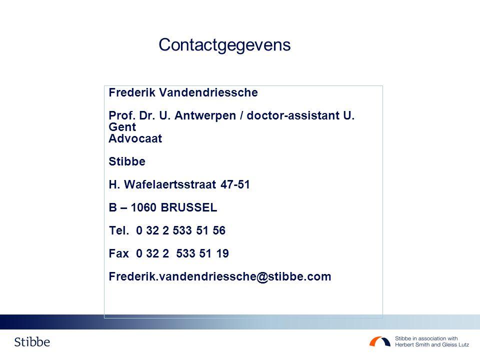 Contactgegevens Frederik Vandendriessche Prof.Dr.