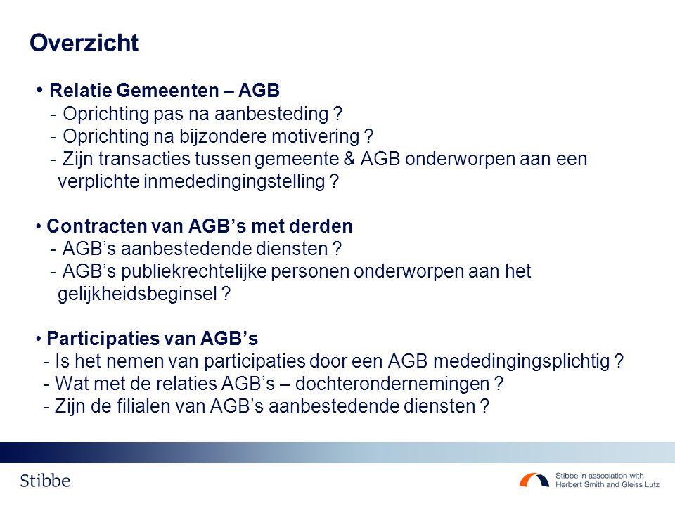 Overzicht Relatie Gemeenten – AGB - Oprichting pas na aanbesteding .