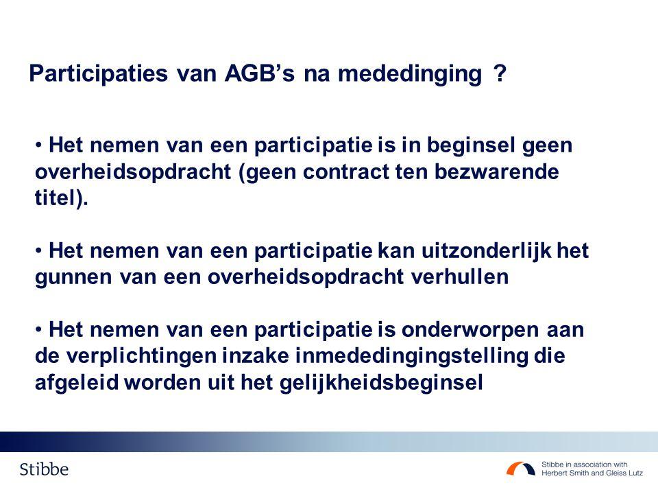 Participaties van AGB's na mededinging .