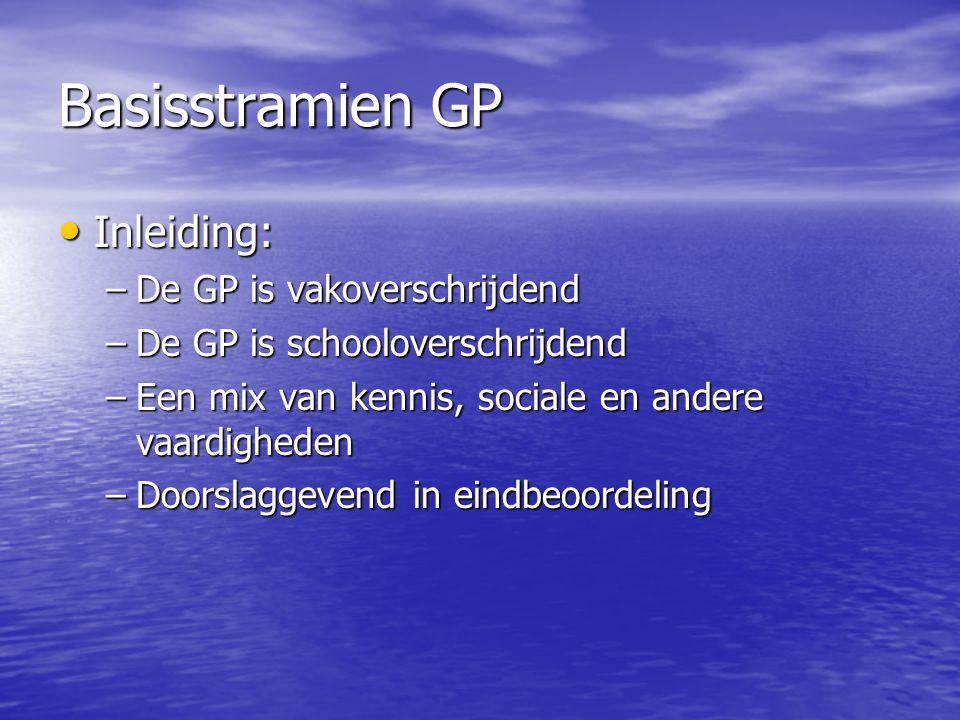 Basisstramien GP Inleiding: Inleiding: –De GP is vakoverschrijdend –De GP is schooloverschrijdend –Een mix van kennis, sociale en andere vaardigheden