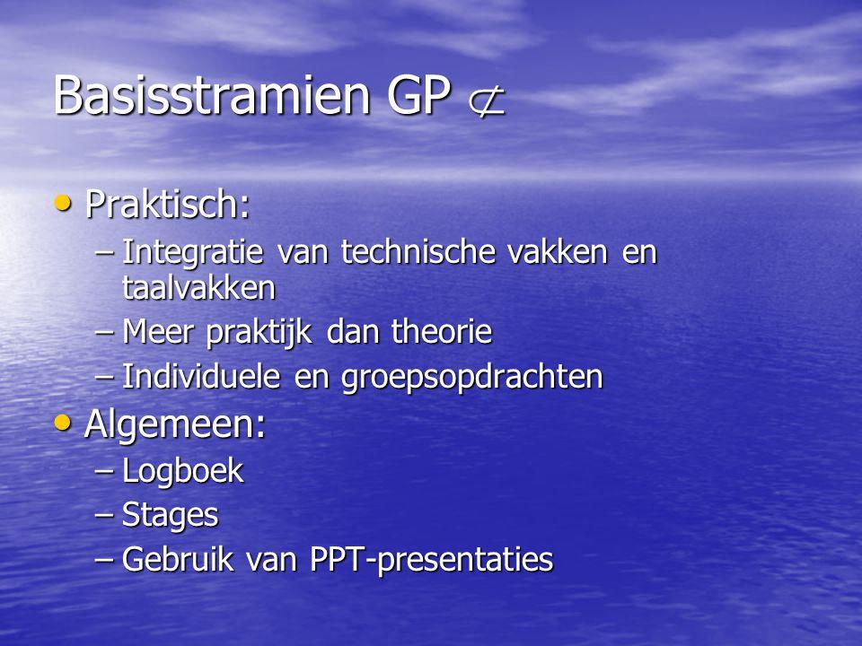 Basisstramien GP  Praktisch: Praktisch: –Integratie van technische vakken en taalvakken –Meer praktijk dan theorie –Individuele en groepsopdrachten Algemeen: Algemeen: –Logboek –Stages –Gebruik van PPT-presentaties