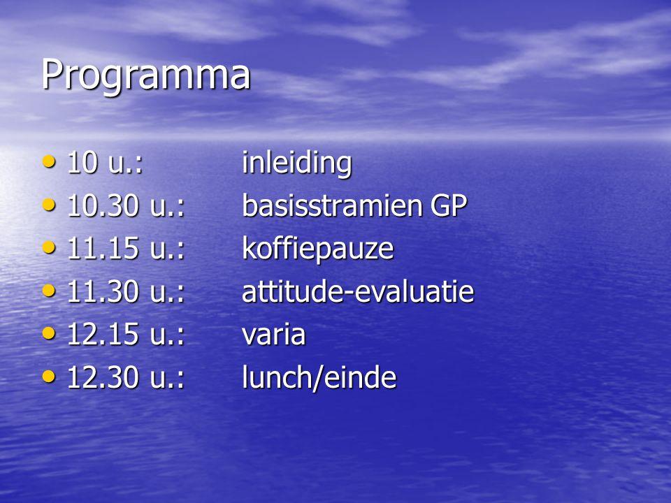 Programma 10 u.:inleiding 10 u.:inleiding 10.30 u.: basisstramien GP 10.30 u.: basisstramien GP 11.15 u.: koffiepauze 11.15 u.: koffiepauze 11.30 u.: attitude-evaluatie 11.30 u.: attitude-evaluatie 12.15 u.: varia 12.15 u.: varia 12.30 u.: lunch/einde 12.30 u.: lunch/einde
