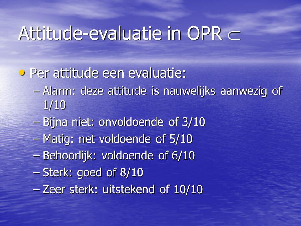 Attitude-evaluatie in OPR  Per attitude een evaluatie: Per attitude een evaluatie: –Alarm: deze attitude is nauwelijks aanwezig of 1/10 –Bijna niet: onvoldoende of 3/10 –Matig: net voldoende of 5/10 –Behoorlijk: voldoende of 6/10 –Sterk: goed of 8/10 –Zeer sterk: uitstekend of 10/10