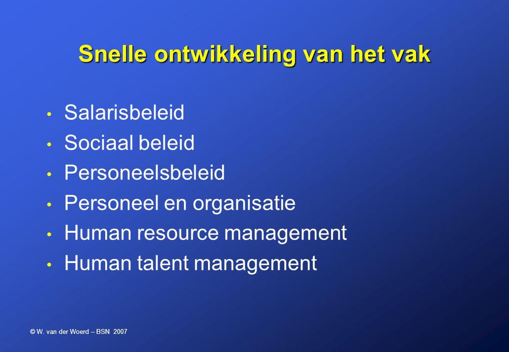 © W. van der Woerd – BSN 2007 Snelle ontwikkeling van het vak Salarisbeleid Sociaal beleid Personeelsbeleid Personeel en organisatie Human resource ma