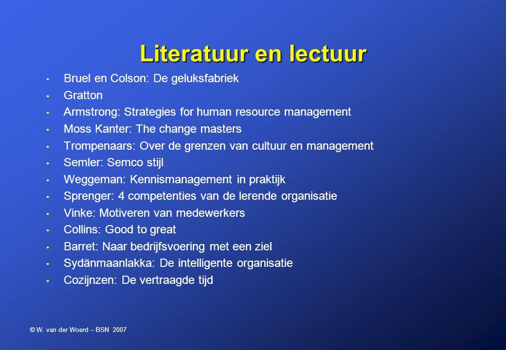 © W. van der Woerd – BSN 2007 Literatuur en lectuur Bruel en Colson: De geluksfabriek Gratton Armstrong: Strategies for human resource management Moss