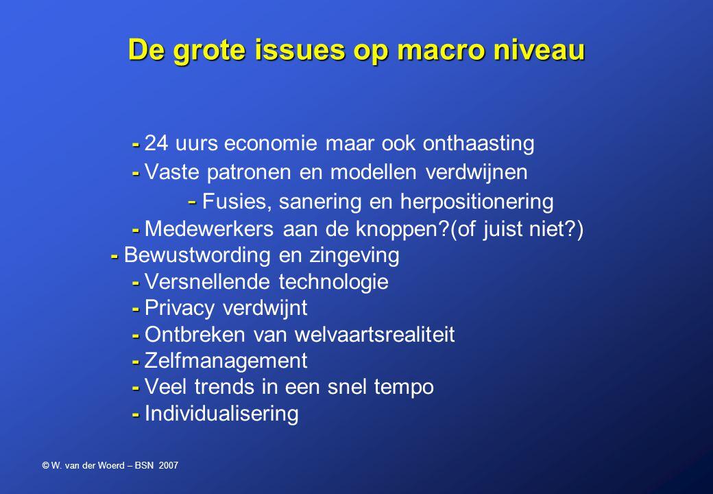 © W. van der Woerd – BSN 2007 - - - - - - - - - - - - 24 uurs economie maar ook onthaasting - Vaste patronen en modellen verdwijnen - Fusies, sanering