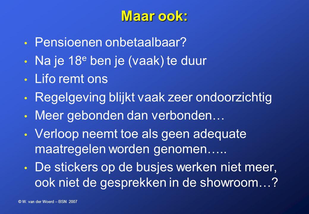 © W. van der Woerd – BSN 2007 Maar ook: Pensioenen onbetaalbaar? Na je 18 e ben je (vaak) te duur Lifo remt ons Regelgeving blijkt vaak zeer ondoorzic