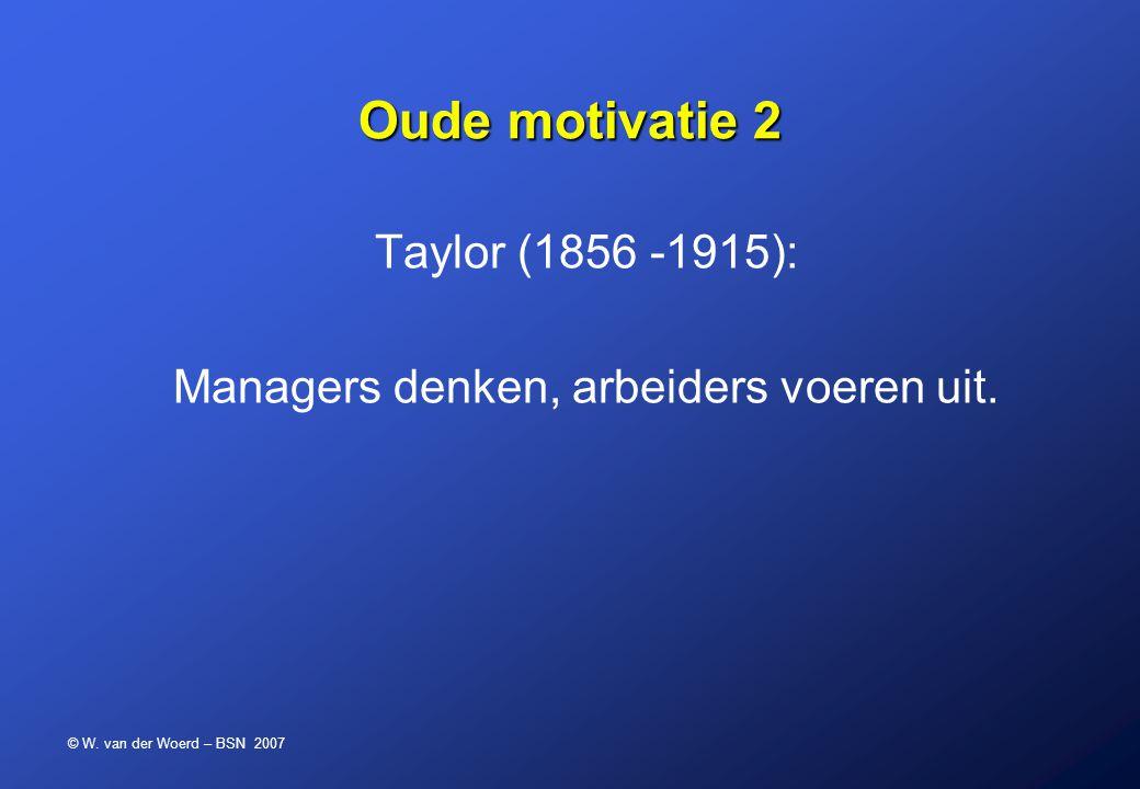 © W. van der Woerd – BSN 2007 Oude motivatie 2 Taylor (1856 -1915): Managers denken, arbeiders voeren uit.
