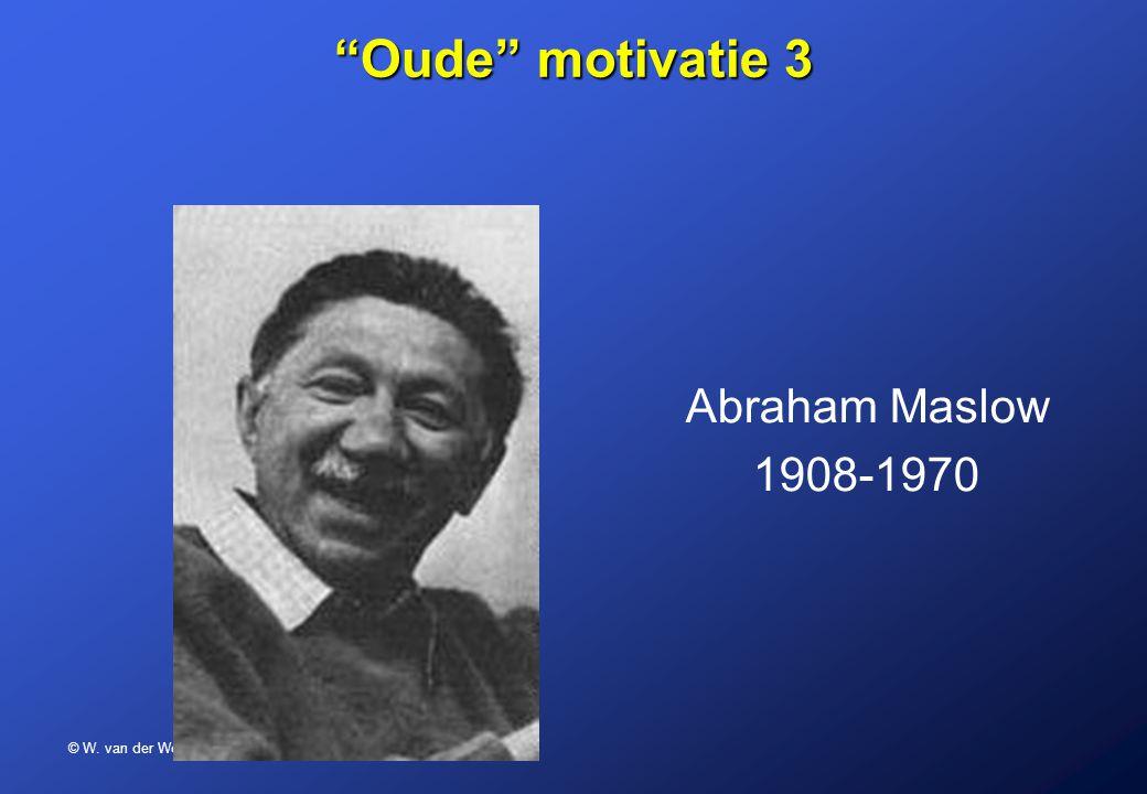 """© W. van der Woerd – BSN 2007 """"Oude"""" motivatie 3 Abraham Maslow 1908-1970"""