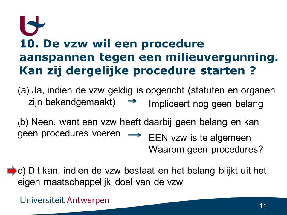 11 10.De vzw wil een procedure aanspannen tegen een milieuvergunning.