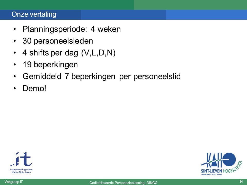 Gedistribueerde Personeelsplanning: DINGO Vakgroep IT 14 Onze vertaling Planningsperiode: 4 weken 30 personeelsleden 4 shifts per dag (V,L,D,N) 19 beperkingen Gemiddeld 7 beperkingen per personeelslid Demo!