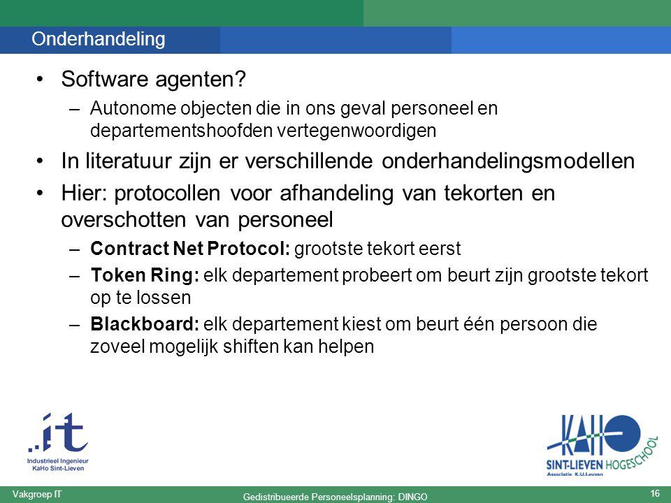 Gedistribueerde Personeelsplanning: DINGO Vakgroep IT 16 Onderhandeling Software agenten.