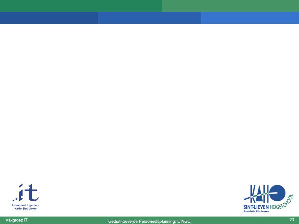 Gedistribueerde Personeelsplanning: DINGO Vakgroep IT 23