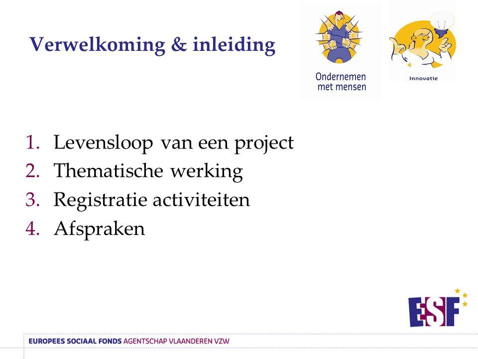 Verwelkoming & inleiding 1.Levensloop van een project 2.Thematische werking 3.Registratie activiteiten 4.Afspraken