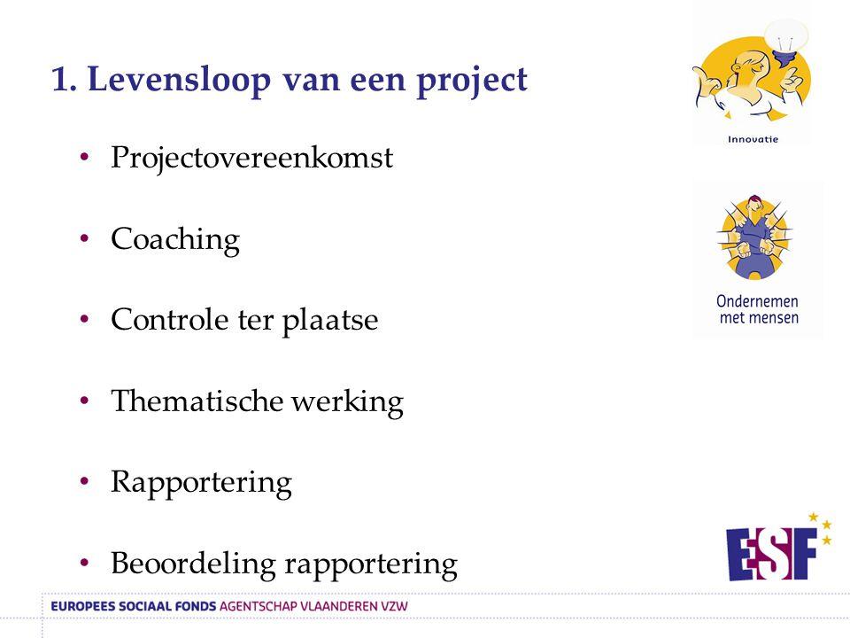 1. Levensloop van een project Projectovereenkomst Coaching Controle ter plaatse Thematische werking Rapportering Beoordeling rapportering