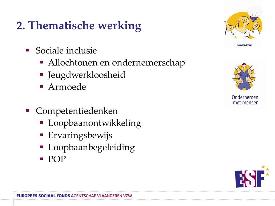 2. Thematische werking  Sociale inclusie  Allochtonen en ondernemerschap  Jeugdwerkloosheid  Armoede  Competentiedenken  Loopbaanontwikkeling 