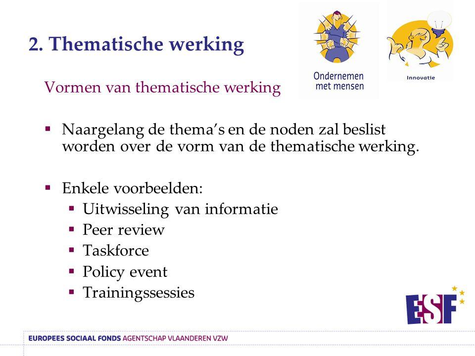 2. Thematische werking Vormen van thematische werking  Naargelang de thema's en de noden zal beslist worden over de vorm van de thematische werking.