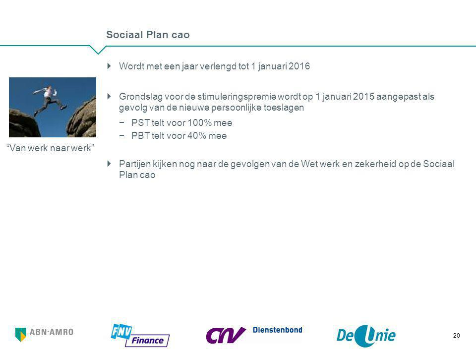 Sociaal Plan cao  Wordt met een jaar verlengd tot 1 januari 2016  Grondslag voor de stimuleringspremie wordt op 1 januari 2015 aangepast als gevolg
