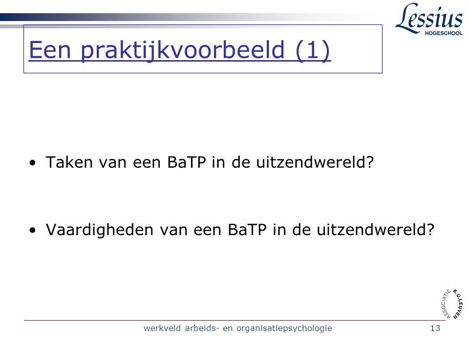 werkveld arbeids- en organisatiepsychologie13 Taken van een BaTP in de uitzendwereld.