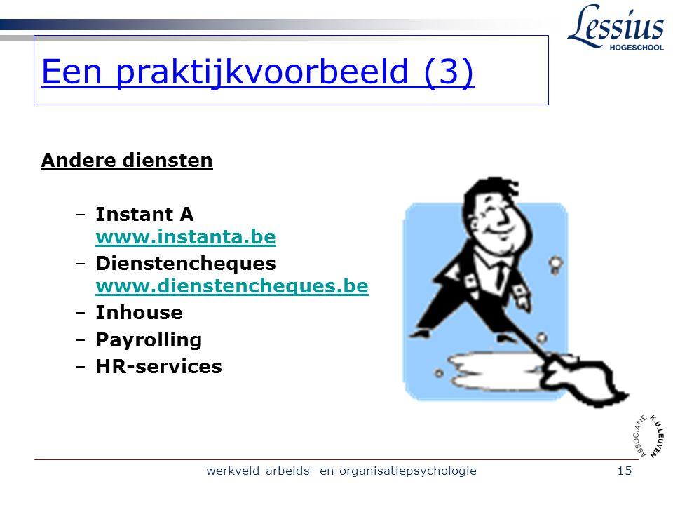 werkveld arbeids- en organisatiepsychologie15 Een praktijkvoorbeeld (3) Andere diensten –Instant A www.instanta.be www.instanta.be –Dienstencheques www.dienstencheques.be www.dienstencheques.be –Inhouse –Payrolling –HR-services