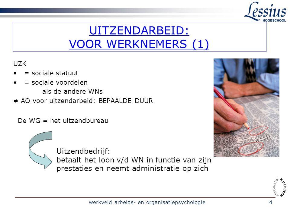 werkveld arbeids- en organisatiepsychologie5 UITZENDARBEID: VOOR WERKNEMERS (2) DE ARBEIDSOVEREENKOMST Intentieverklaring Inschrijving & dienstverlening = GRATIS UZK aanvaardt opdracht voor Uitzendbureau.