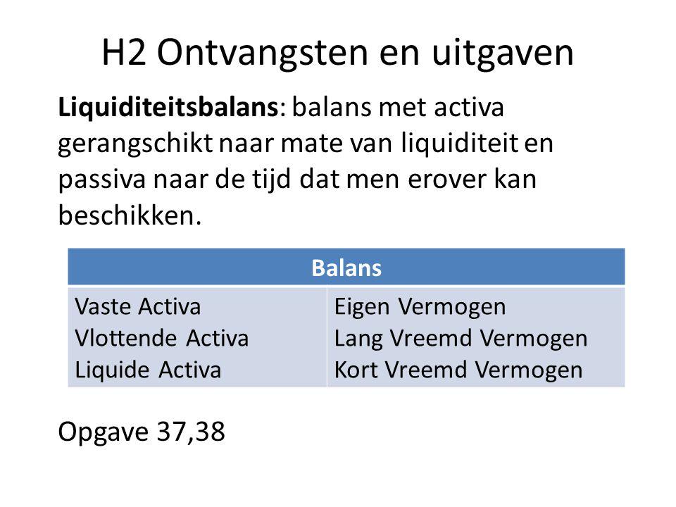 H2 Ontvangsten en uitgaven Liquiditeitsbalans: balans met activa gerangschikt naar mate van liquiditeit en passiva naar de tijd dat men erover kan bes
