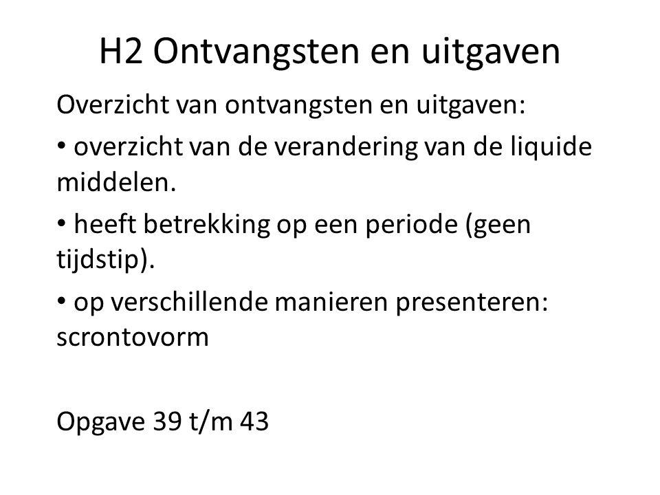H2 Ontvangsten en uitgaven Overzicht van ontvangsten en uitgaven: overzicht van de verandering van de liquide middelen. heeft betrekking op een period