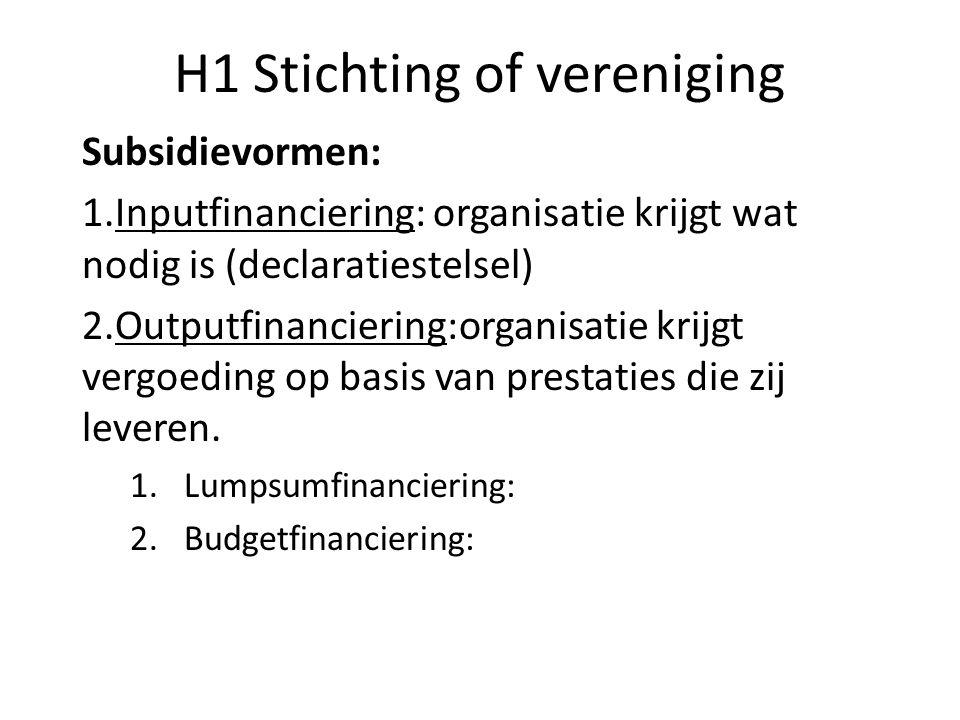 H1 Stichting of vereniging Subsidievormen: 1.Inputfinanciering: organisatie krijgt wat nodig is (declaratiestelsel) 2.Outputfinanciering:organisatie k