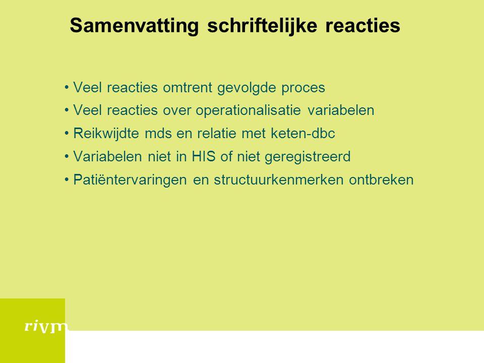 Samenvatting schriftelijke reacties Veel reacties omtrent gevolgde proces Veel reacties over operationalisatie variabelen Reikwijdte mds en relatie me