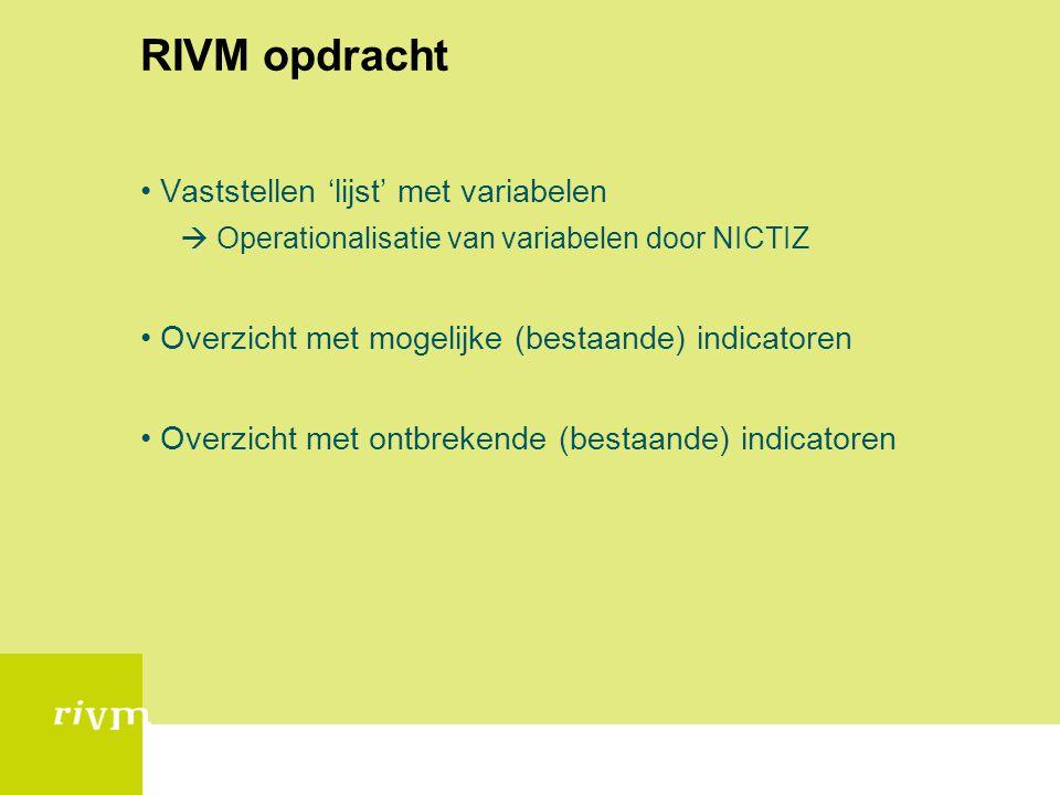 RIVM opdracht Vaststellen 'lijst' met variabelen  Operationalisatie van variabelen door NICTIZ Overzicht met mogelijke (bestaande) indicatoren Overzi