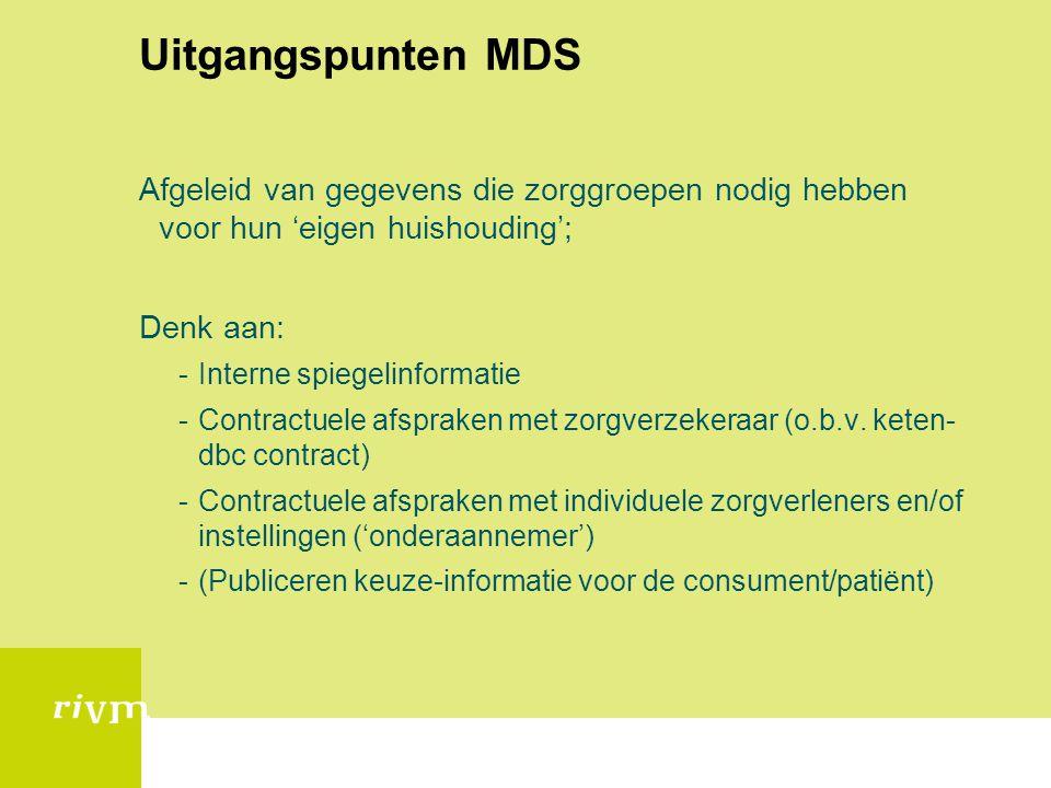 Uitgangspunten mds (II) Beperkt zich tot de (concept) zorgstandaarden (ZiZo); Sluit aan bij modelmatige opbouw van de Adviescommissie Transparantie chronische zorg (ZiZo); Zorggroepen moeten niet afhankelijk zijn van derden voor het kunnen rapporteren van de mds Bevat alleen registratiegegevens Eventuele rapportage op zorggroep-niveau