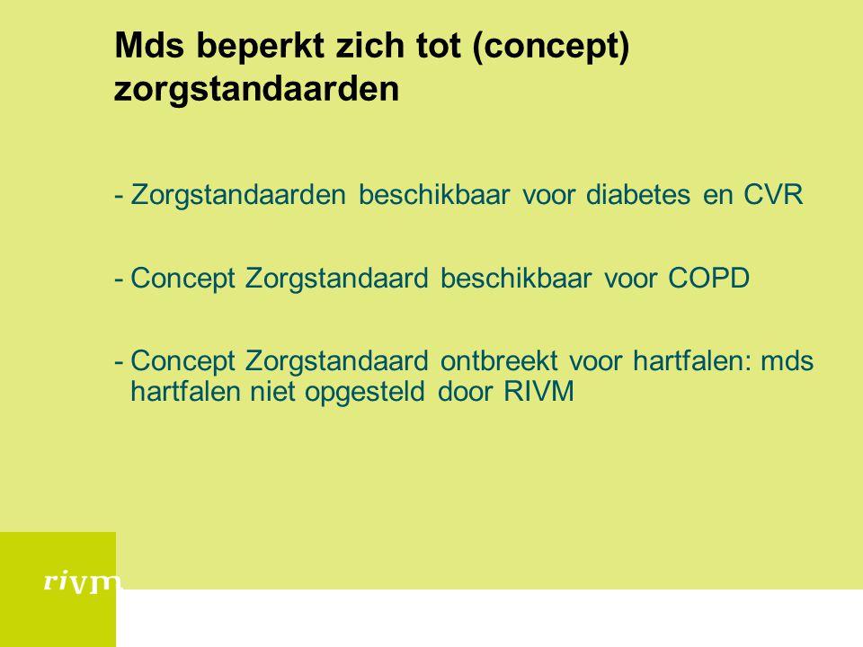 Mds beperkt zich tot (concept) zorgstandaarden - Zorgstandaarden beschikbaar voor diabetes en CVR -Concept Zorgstandaard beschikbaar voor COPD -Concep
