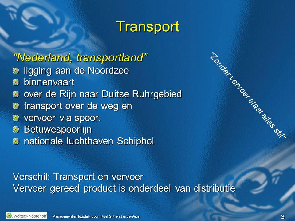 4 Management en logistiek door Roel Grit en Jan de Geus Betrokken partijen verlader transporteur of vervoerder ontvanger van de goederen logistieke dienstverlener expediteurVerder Douane, reder, cargadoor, stuwadoor