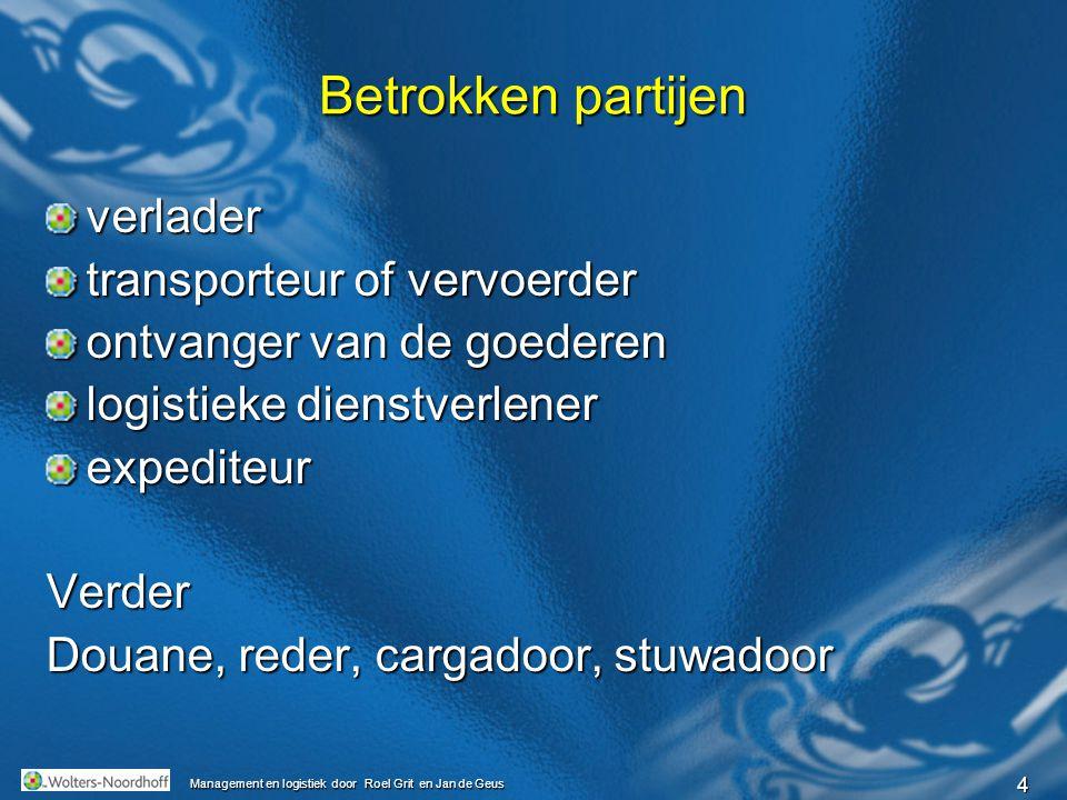 5 Management en logistiek door Roel Grit en Jan de Geus Transportmethoden Modaliteiten over de weg per spoor via de lucht via het water via een pijpleiding