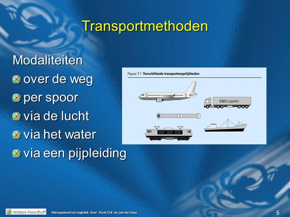 6 Management en logistiek door Roel Grit en Jan de Geus Begrippen transport modaliteitcontainerwagonsrangerencontainerterminalscoasterrederijcargadoorstuwadoorhub Multimodaal vervoer roll-on roll-off