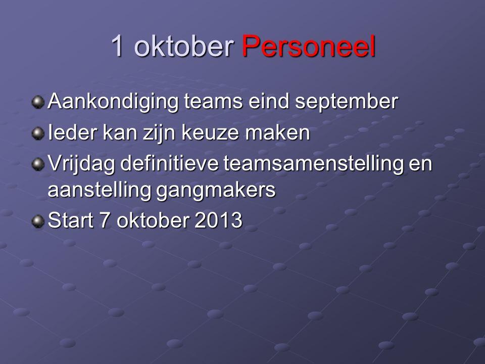 1 oktober Personeel Aankondiging teams eind september Ieder kan zijn keuze maken Vrijdag definitieve teamsamenstelling en aanstelling gangmakers Start