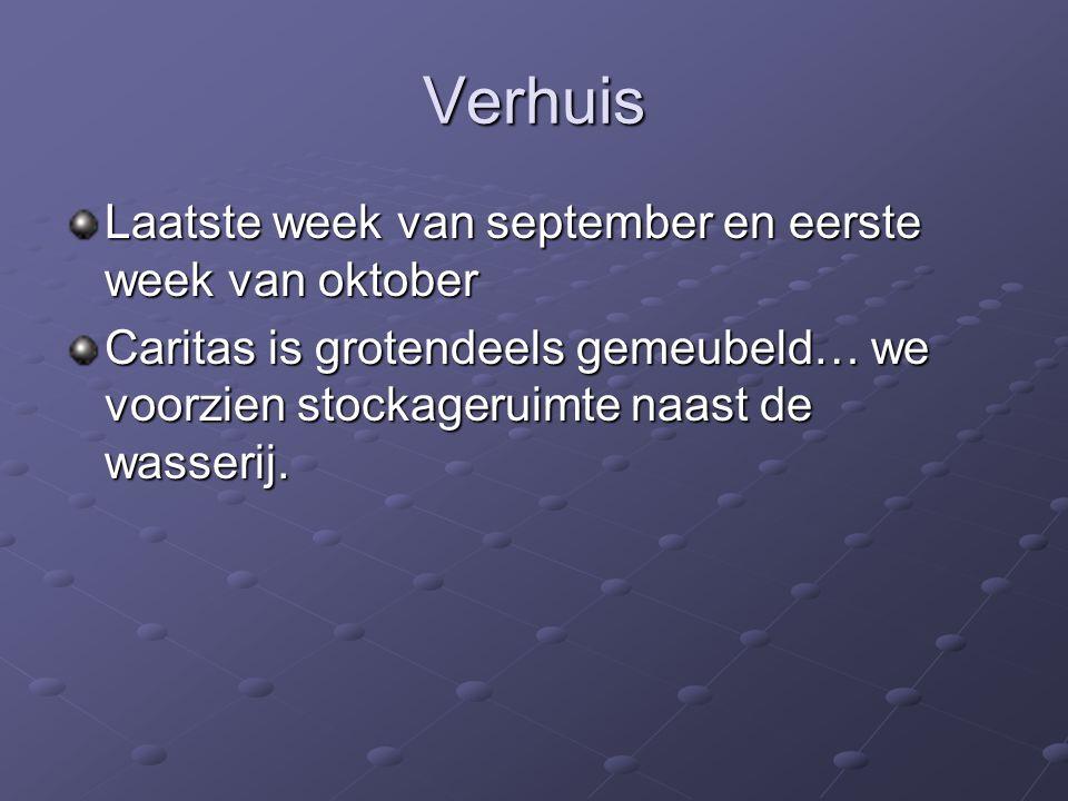 Verhuis Laatste week van september en eerste week van oktober Caritas is grotendeels gemeubeld… we voorzien stockageruimte naast de wasserij.