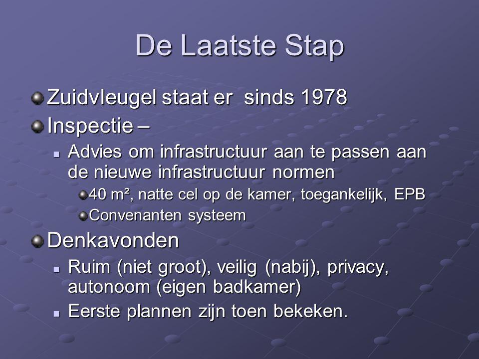 De Laatste Stap Zuidvleugel staat er sinds 1978 Inspectie – Advies om infrastructuur aan te passen aan de nieuwe infrastructuur normen Advies om infra