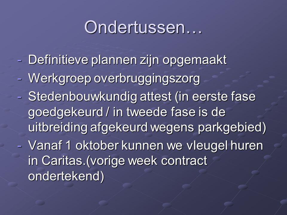 Ondertussen… -Definitieve plannen zijn opgemaakt -Werkgroep overbruggingszorg -Stedenbouwkundig attest (in eerste fase goedgekeurd / in tweede fase is
