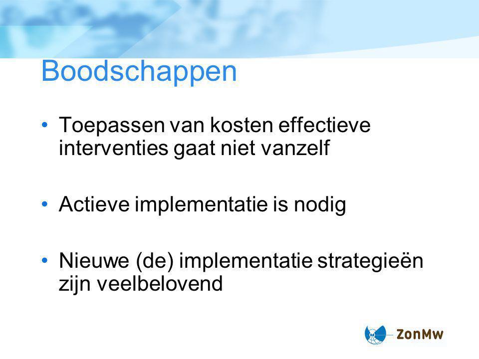Boodschappen Toepassen van kosten effectieve interventies gaat niet vanzelf Actieve implementatie is nodig Nieuwe (de) implementatie strategieën zijn veelbelovend