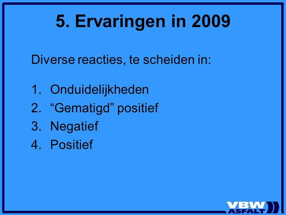 """5. Ervaringen in 2009 Diverse reacties, te scheiden in: 1.Onduidelijkheden 2.""""Gematigd"""" positief 3.Negatief 4.Positief"""