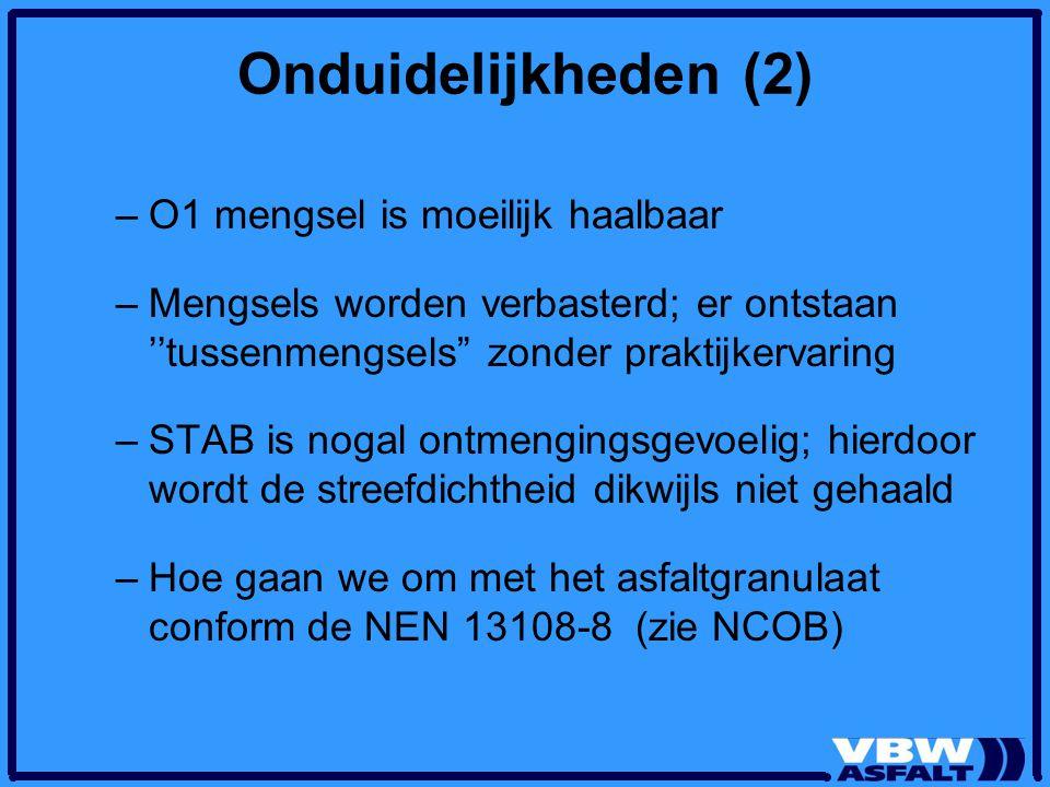"""Onduidelijkheden (2) –O1 mengsel is moeilijk haalbaar –Mengsels worden verbasterd; er ontstaan ''tussenmengsels"""" zonder praktijkervaring –STAB is noga"""