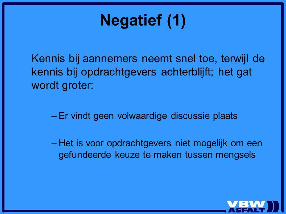 Negatief (1) Kennis bij aannemers neemt snel toe, terwijl de kennis bij opdrachtgevers achterblijft; het gat wordt groter: –Er vindt geen volwaardige