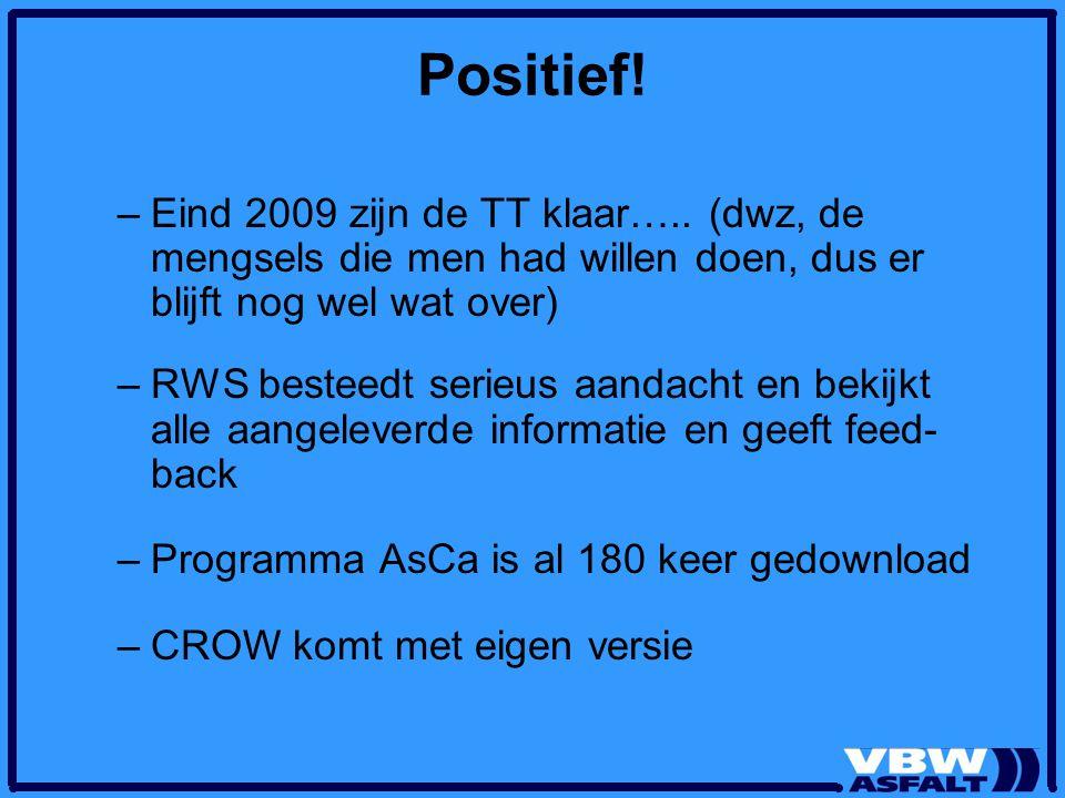 Positief! –Eind 2009 zijn de TT klaar….. (dwz, de mengsels die men had willen doen, dus er blijft nog wel wat over) –RWS besteedt serieus aandacht en