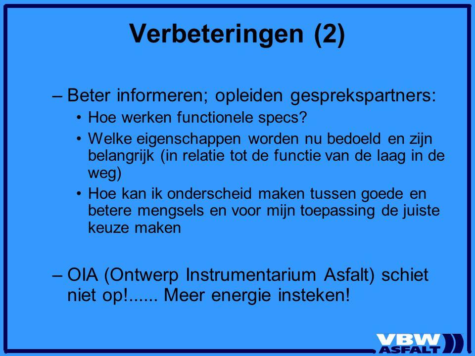 Verbeteringen (2) –Beter informeren; opleiden gesprekspartners: Hoe werken functionele specs? Welke eigenschappen worden nu bedoeld en zijn belangrijk