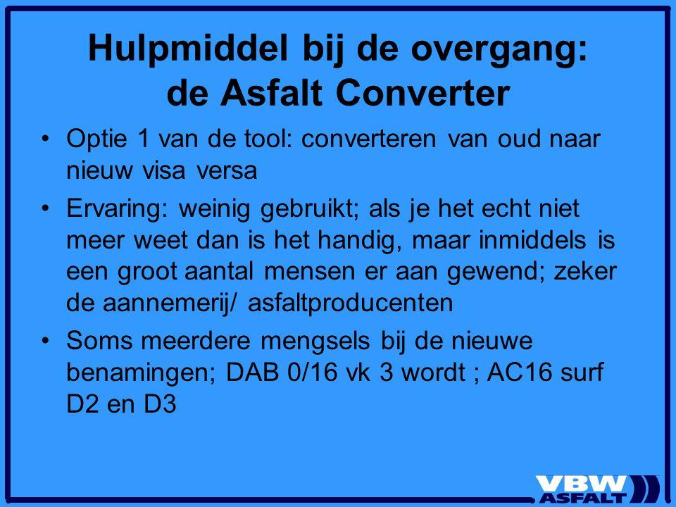 Hulpmiddel bij de overgang: de Asfalt Converter Optie 1 van de tool: converteren van oud naar nieuw visa versa Ervaring: weinig gebruikt; als je het e