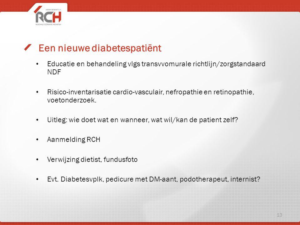 Educatie en behandeling vlgs transvvomurale richtlijn/zorgstandaard NDF Risico-inventarisatie cardio-vasculair, nefropathie en retinopathie, voetonder