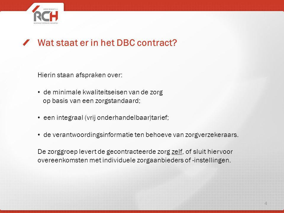 Wat staat er in het DBC contract? Hierin staan afspraken over: de minimale kwaliteitseisen van de zorg op basis van een zorgstandaard; een integraal (