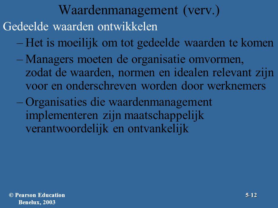 Waardenmanagement (verv.) Gedeelde waarden ontwikkelen –Het is moeilijk om tot gedeelde waarden te komen –Managers moeten de organisatie omvormen, zodat de waarden, normen en idealen relevant zijn voor en onderschreven worden door werknemers –Organisaties die waardenmanagement implementeren zijn maatschappelijk verantwoordelijk en ontvankelijk 5-12© Pearson Education Benelux, 2003