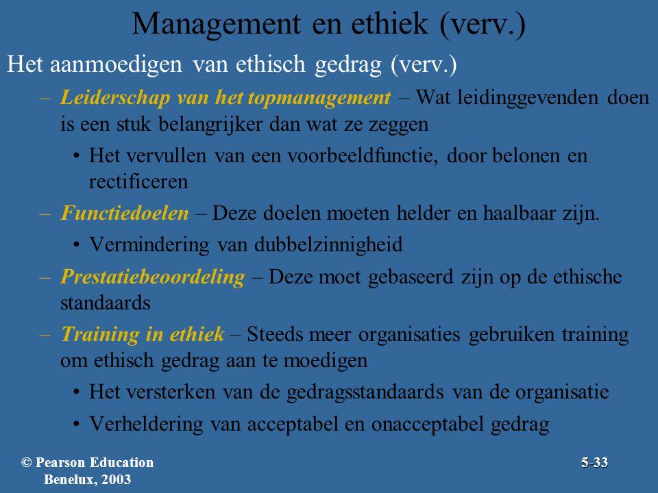 Management en ethiek (verv.) Het aanmoedigen van ethisch gedrag (verv.) –Leiderschap van het topmanagement – Wat leidinggevenden doen is een stuk belangrijker dan wat ze zeggen Het vervullen van een voorbeeldfunctie, door belonen en rectificeren –Functiedoelen – Deze doelen moeten helder en haalbaar zijn.